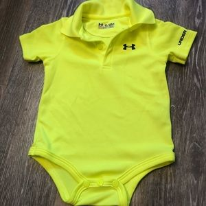 Fluorescent yellow under armor polo